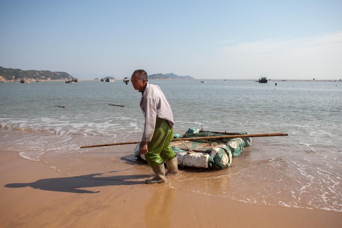 Algenfischer Xiapu Mudflats Fujian China