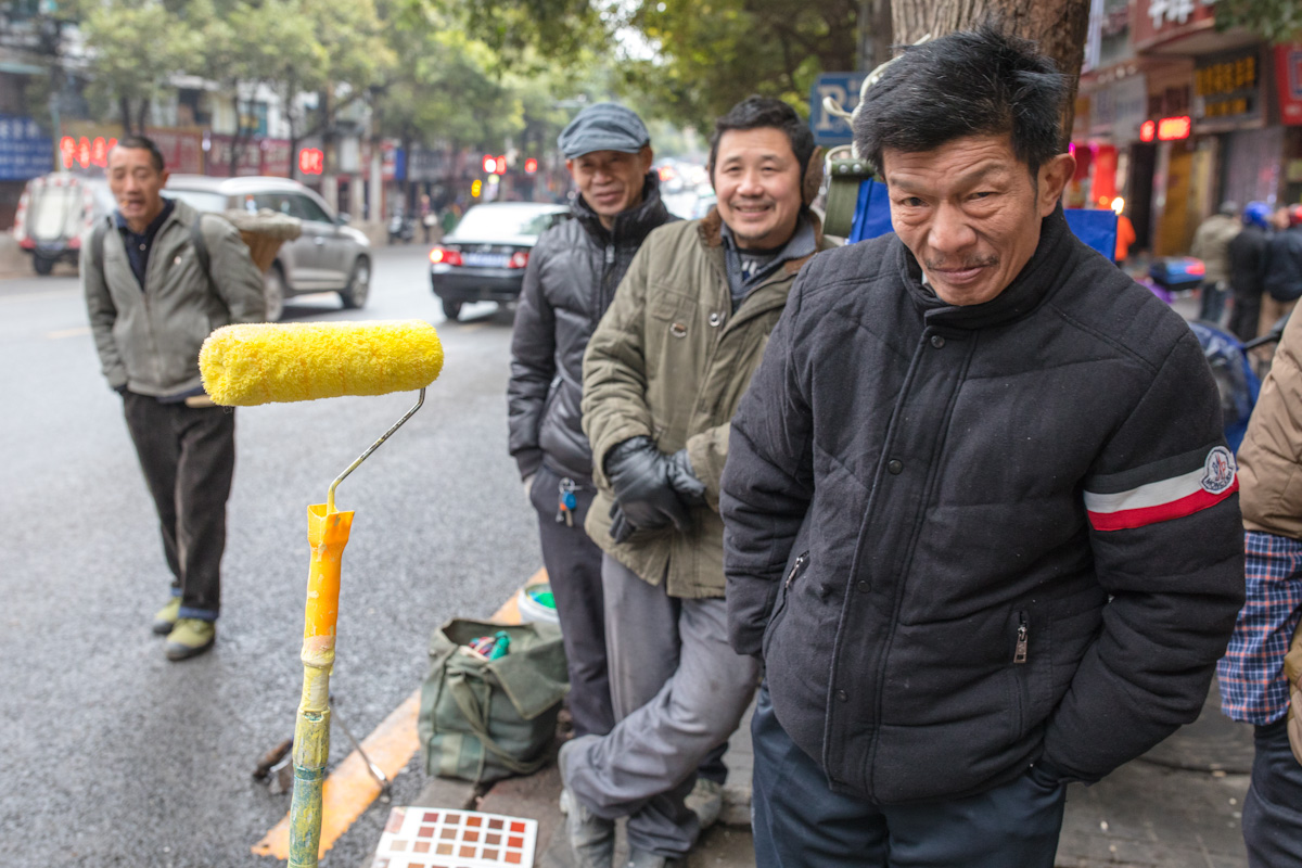 Arbeiter Handwerker Winter Maler Straße Zunyi Guizhou China