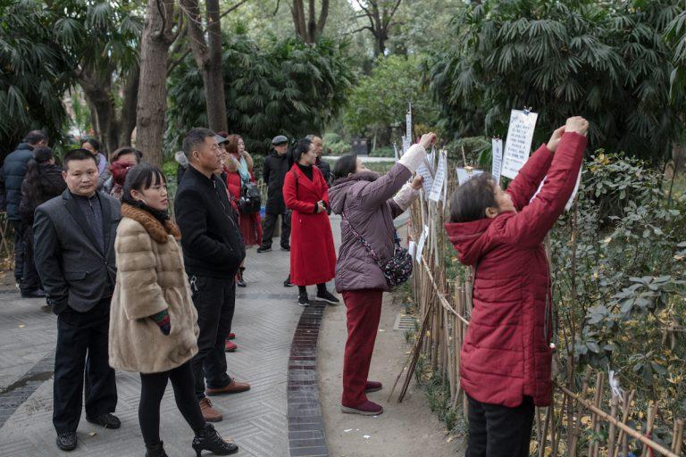 Auf dem Heiratsmarkt im Peoples Park in Chengdu. Die Frauen hängen Plakate mit den Daten möglicher Partner auf. Darauf befinden sich neben Alter, Größe und Einkommen, auch Ausbildung und Heimatort oder Immobilienbesitz. Chengdu - Sichuan - China