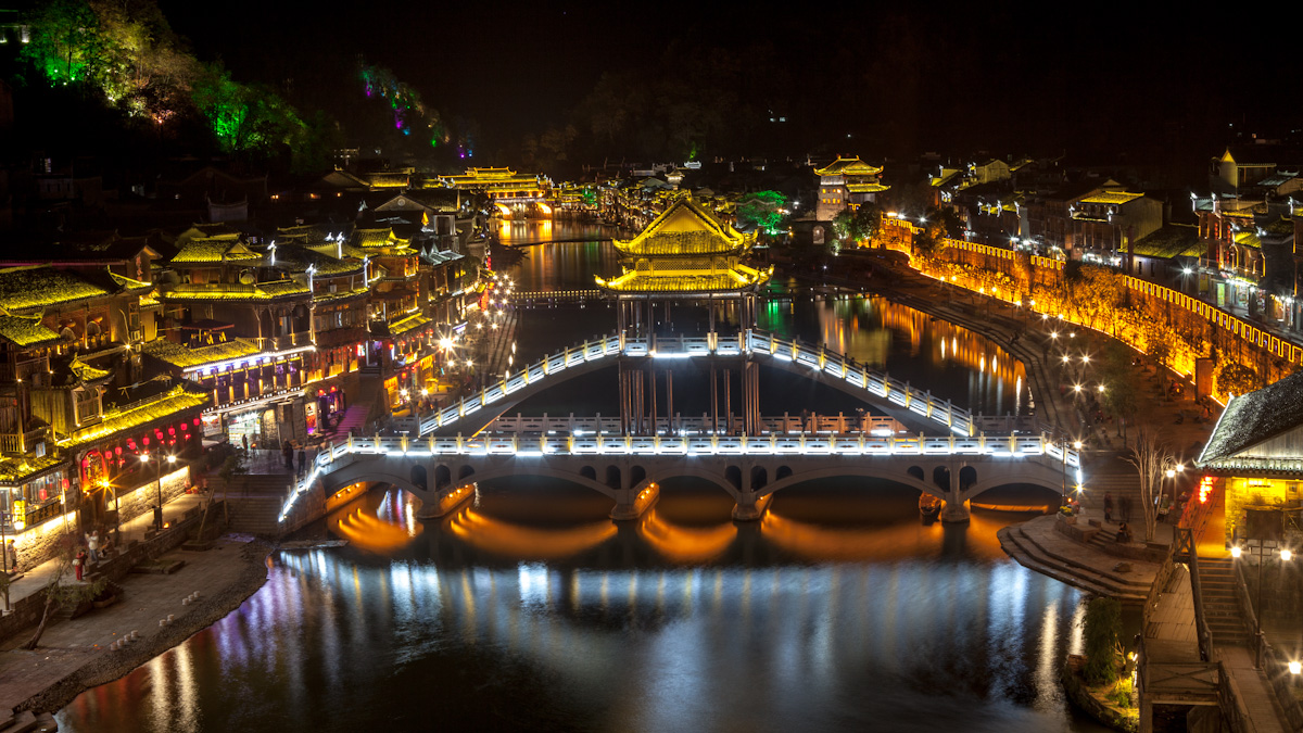 Asia, Asien, China, Hunan, Fenghuang, River, Fluss, Bridge, Brücke, Night, Nacht, Hans-Joachim Eggert